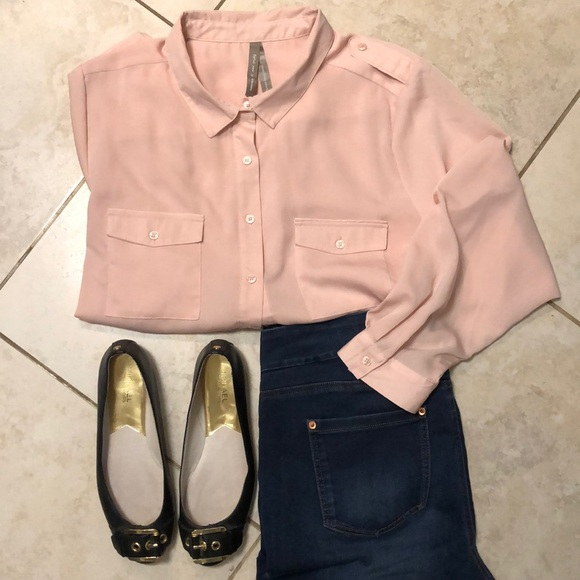 Pink button front blouse